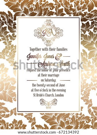 Vintage baroque style wedding invitation card stock illustration vintage baroque style wedding invitation card template elegant formal design with damask background stopboris Gallery