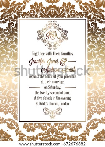 Vintage baroque style wedding invitation card em vetor stock vintage baroque style wedding invitation card template elegant formal design with damask background stopboris Images
