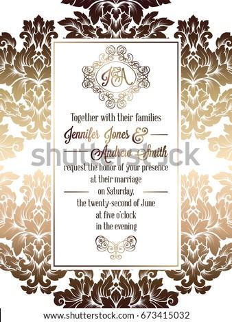 Vintage baroque style wedding invitation card stock vector vintage baroque style wedding invitation card template elegant formal design with damask background stopboris Choice Image