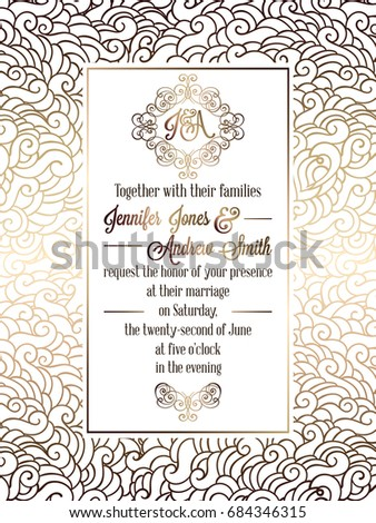 Vintage baroque style wedding invitation card stock vector 684346315 vintage baroque style wedding invitation card template elegant formal design with damask background stopboris Gallery