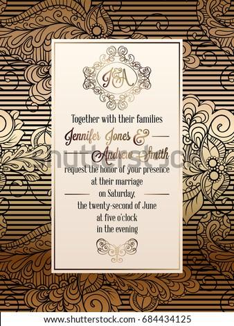 Vintage baroque style wedding invitation card stock photo photo vintage baroque style wedding invitation card stock photo photo vector illustration 684434125 shutterstock stopboris Choice Image