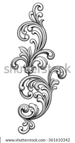 Vintage Baroque Victorian frame border monogram floral ornament leaf scroll engraved retro flower pattern decorative design tattoo black and white filigree calligraphic vector heraldic shield swirl - stock vector