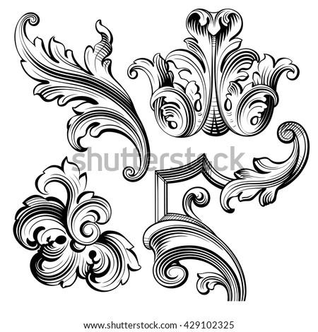 vintage baroque victorian frame border monogram stock vector 429102325 shutterstock. Black Bedroom Furniture Sets. Home Design Ideas