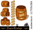 vintage barrel pirate set - stock vector