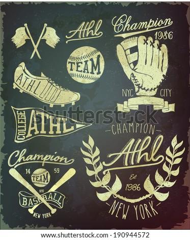vintage baseball label set - stock vector