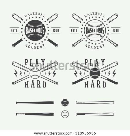 Vintage baseball logos, emblems, badges and design elements. Vector illustration - stock vector
