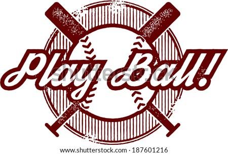 Vintage Baseball or Softball Stamp Design - stock vector