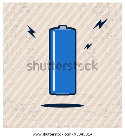 Vintage battery poster - stock vector
