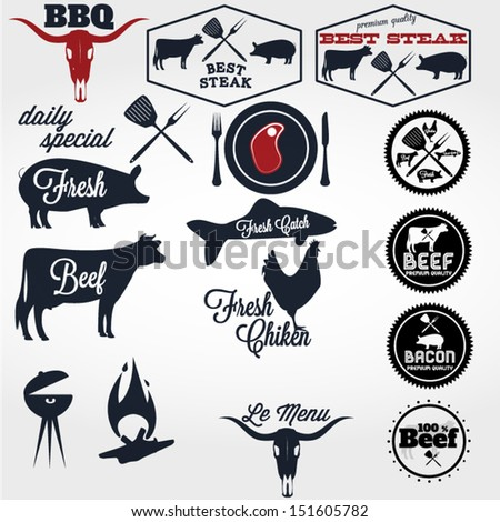 Vintage BBQ Grill elements, typographical Design - stock vector