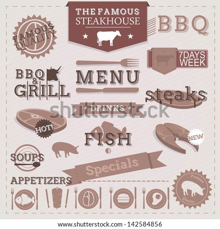 Vintage BBQ Grill Steakhouse design elements and labels. - stock vector
