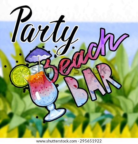 Vintage Beach Party Poster On Retro Style Vector Illustration