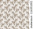 Vintage beautiful background with retro style ornamentation, fashioned seamless pattern, beige, brown color vector wallpaper, floral swatch fabric for decoration and design - stock vector