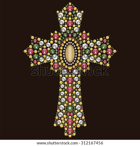 Vintage beautiful ornate Christian Cross from brilliant stones, rhinestone applique, decoration for clothing (abstract vector art illustration) - stock vector