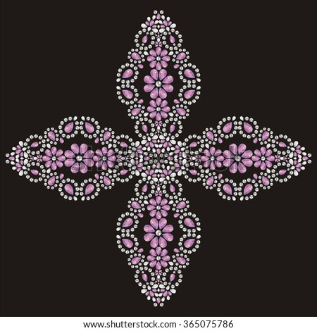 Vintage beautiful ornate Christian Cross from brilliant stones, silver and pink. Rhinestone applique, decoration for clothing.  (abstract vector art illustration) - stock vector