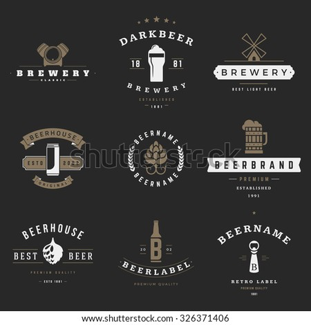 Vintage beer brewery logos, emblems, labels, badges and design elements - stock vector