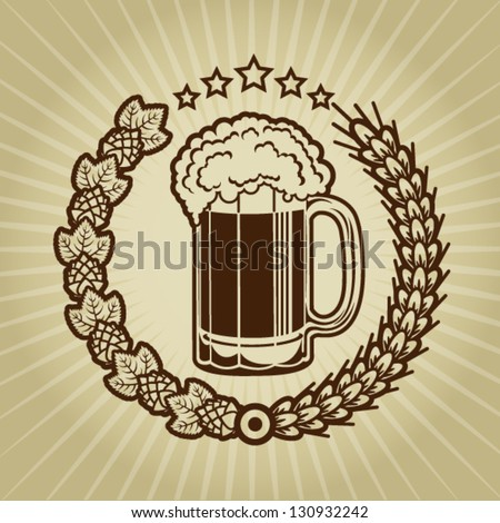 Vintage Beer Mug Seal - stock vector