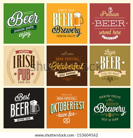 Vintage Beer set. Vector illustration. - stock vector