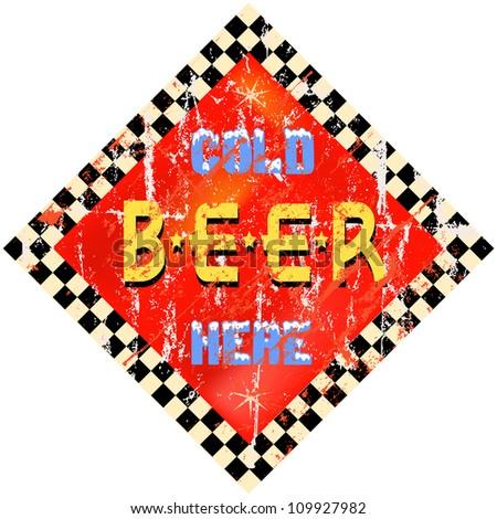 vintage beer sign, vector illustration - stock vector