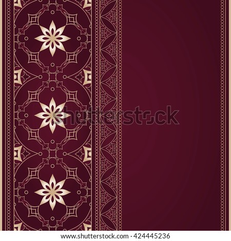 Vintage beige border in Eastern style on vinous. Bright element for design. Floral vintage pattern for invitations and greeting cards, wallpaper. Traditional arabic decor on vinous background. - stock vector