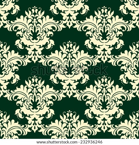 Vintage beige floral seamless pattern on dark green background for fabric and wallpaper design - stock vector