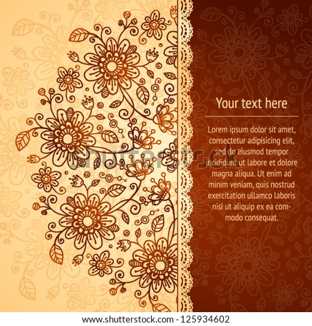 Vintage beige flowers ornament background with text field - stock vector