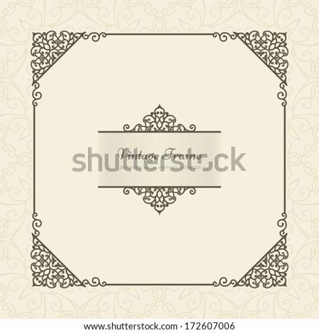 Vintage beige frame over ornamental vector background - stock vector