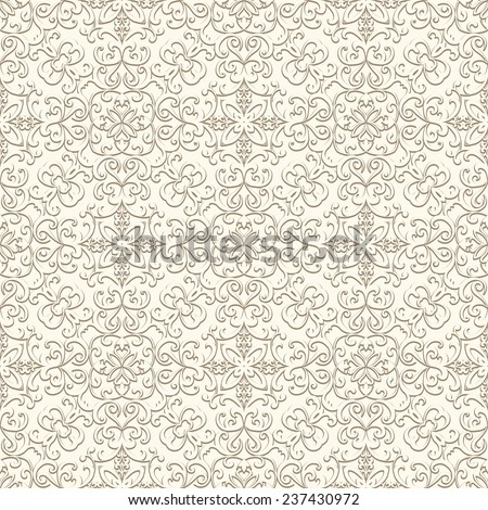 Vintage beige vector background, curly ornament, seamless pattern  - stock vector