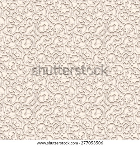 Vintage beige vector background, curly ornament, seamless pattern