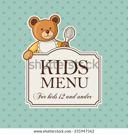 Vintage besign of kids menu with cute bear - stock vector