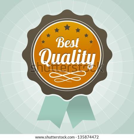 vintage best quality orange brown label icon - stock vector