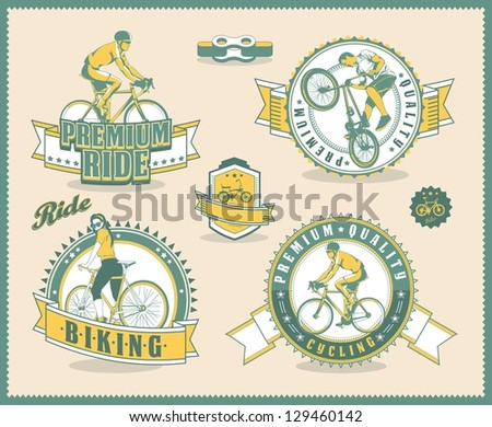 vintage bicycle labels, vector background - stock vector