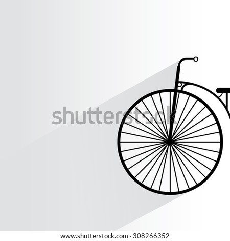 vintage bicycle on white background, flat and drop shadow theme - stock vector