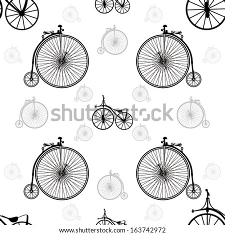 Vintage bicycle seamless background vector - stock vector