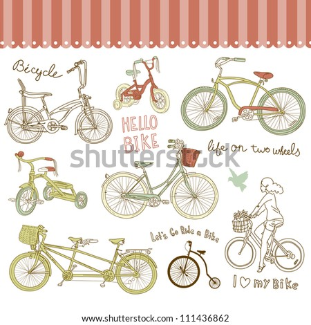 Vintage bicycle set and a beautiful girl riding a bike - stock vector