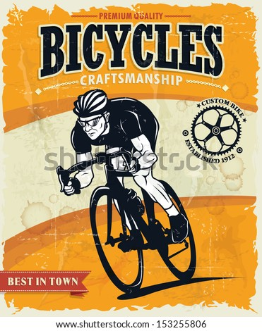 Vintage bicycles poster design - stock vector