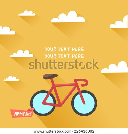 "Vintage bike in flat design and ""I love my bike"" ribbon or place for other text on yellow background and sky with long shadows. Vector colorful illustration  - stock vector"