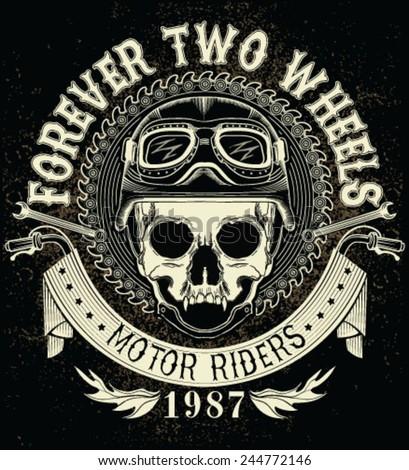 Vintage Biker Skull Emblem - stock vector