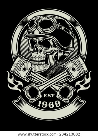 Vintage Biker Skull With Crossed Piston Emblem - stock vector