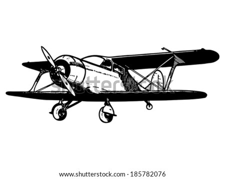 Vintage biplane aircraft. Vector hand drawn illustration.  - stock vector