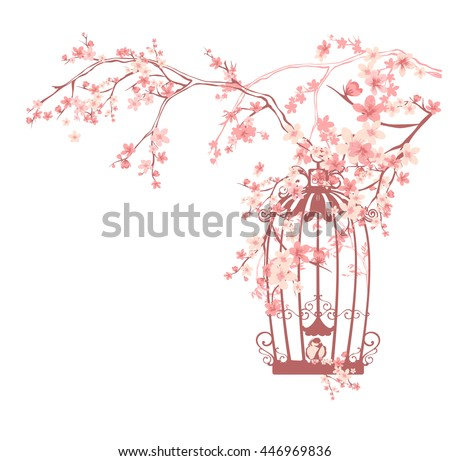 vintage bird cage among pink flowers and tree branches - spring season floral vector design