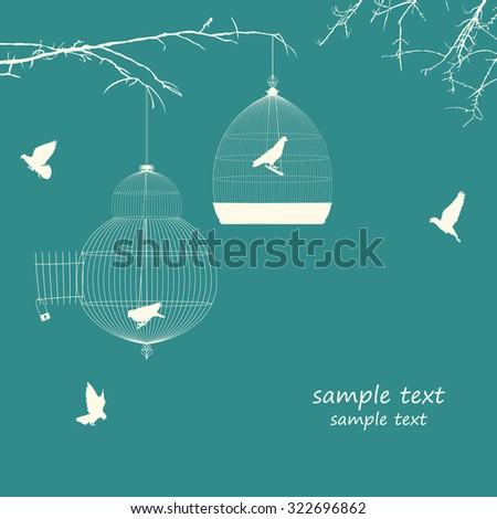 Vintage bird cages design card - stock vector
