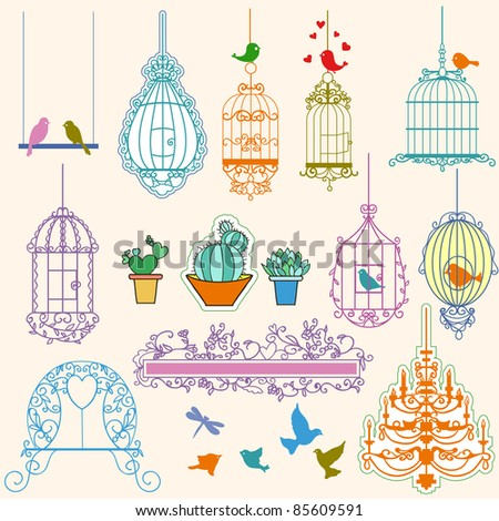 Vintage birds and birdcages collection.Clipart. Vector