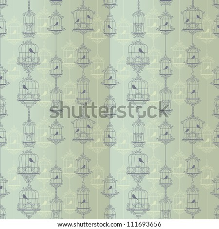 Vintage birds and birdcages. Pattern. Wallpaper. - stock vector