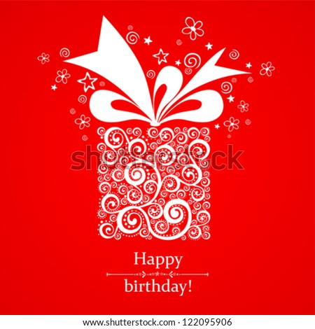 Vintage Birthday Card. Celebration red background with gift boxes and place for your text.  Vector Illustration - stock vector