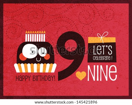 Vintage Birthday Card - Vector EPS10. with Grunge effects - stock vector