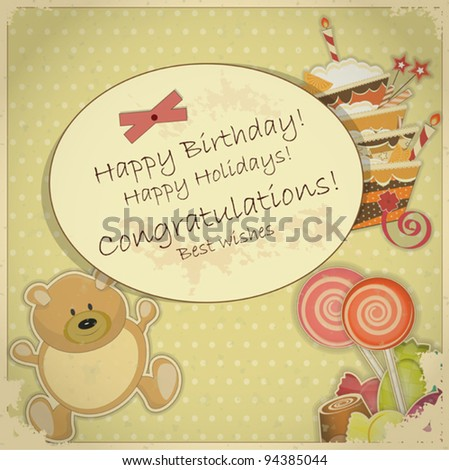 Vintage Birthday Card - with bear, candy and cake - vector illustration - stock vector