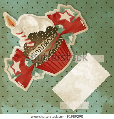 Vintage birthday card with funny cupcake and copy space - stock vector