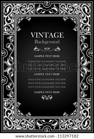 Vintage black background, antique white frame, victorian ornament, beautiful old paper, certificate, award, royal diploma, ornate cover page, floral luxury ornamental pattern, achievement template - stock vector