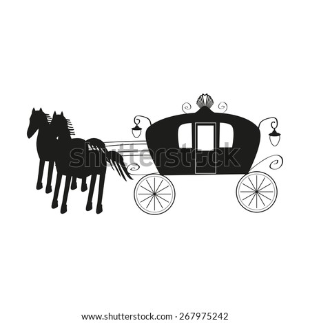 Vintage black carriage and black horse isolated on white background - stock vector