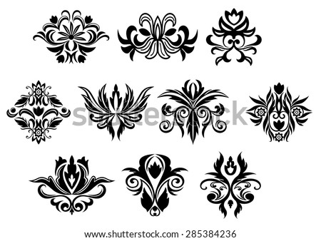 Vintage black flowers and blossoms set with different shapes for retro ornament design